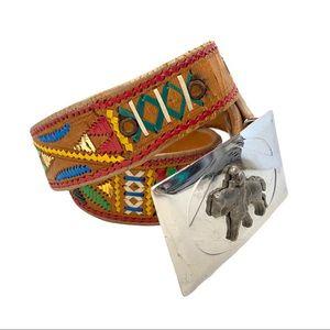 🌻 Omega Embroidered Leather Belt Western Buckle M